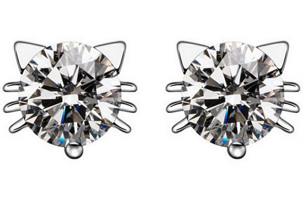 Crystal Cat Stud Earrings (Sterling Silver)