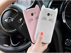 Cat Ear Phone Case Pink and White Back