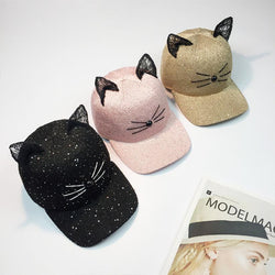 Cat Ear Sequin Baseball Cap