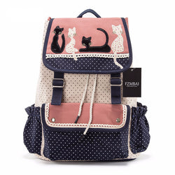 pink and blue canvas cat backpack