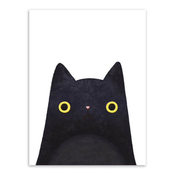 Modern Watercolor Cat Face Print (Without Frame)