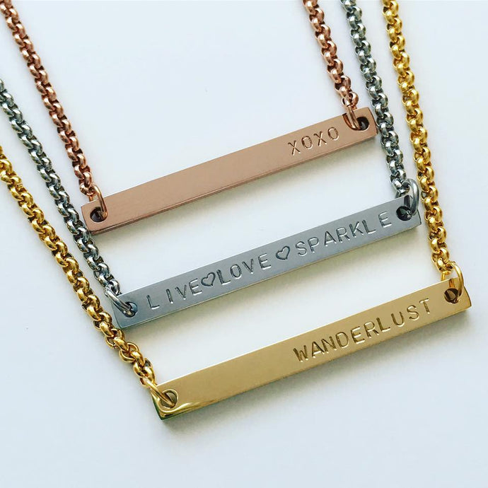 Handstamped Narrow Bar Necklace (clearance sale)