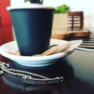 Handstamped curved bar style necklace | allure style | but first coffee