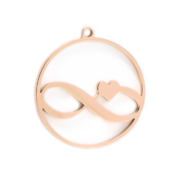 Handstamped floating infinity necklace in silver, rose and yellow gold finish (stainless steel)