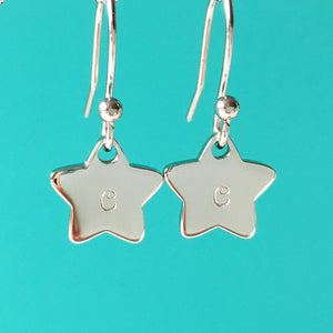 Handstamped Petite Star Drop Earrings | allure style