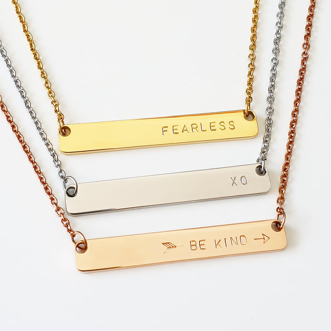 Handstamped Bar Necklace