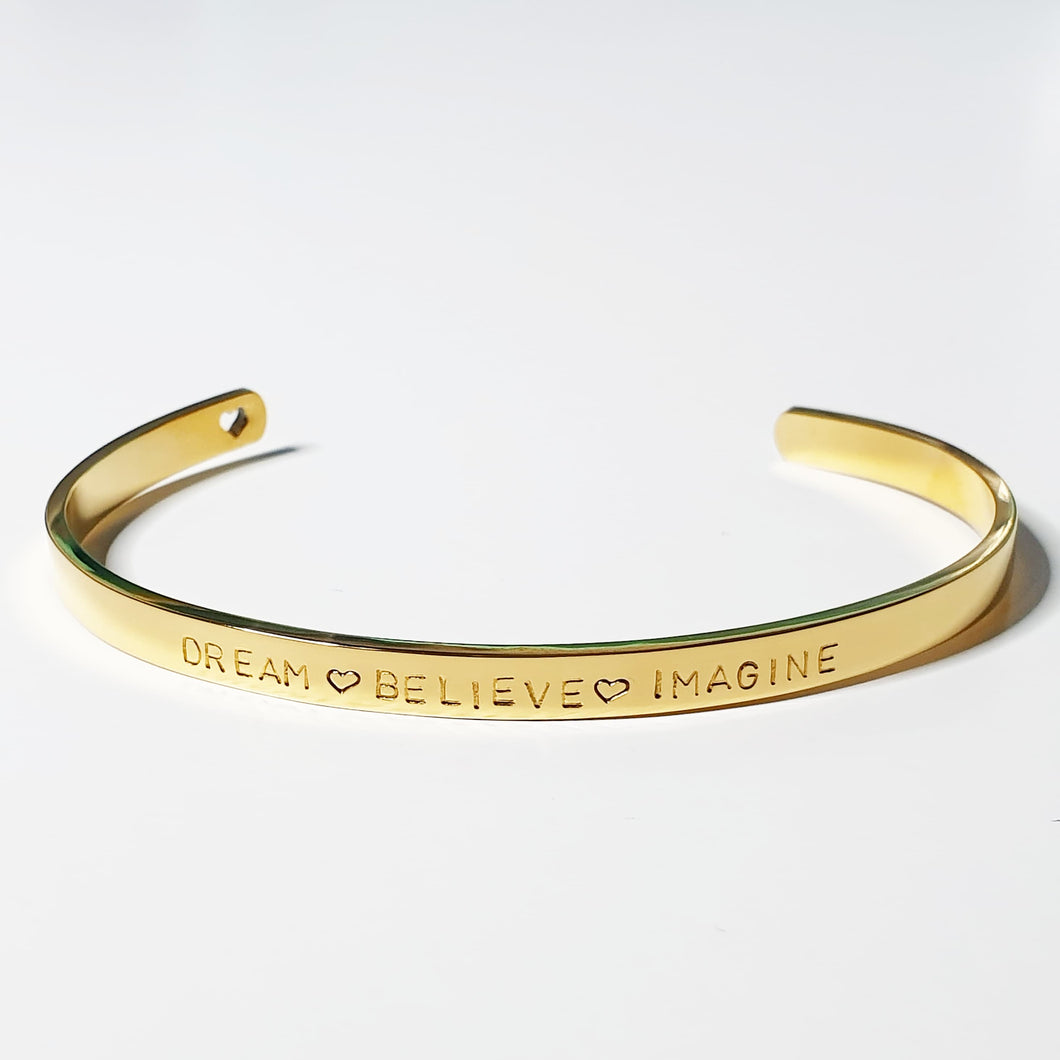 Handstamped Cuff Bracelet (small) | allure style | dream believe imagine