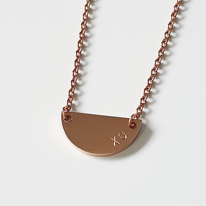 Handstamped Petite Half Circle Necklace