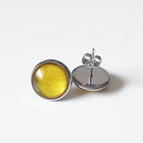 Handpainted Sparkly Yellow/Gold stud earrings