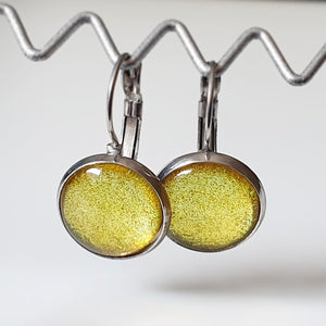Handpainted Yellow/Gold coloured drop earrings