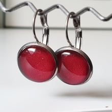 Load image into Gallery viewer, Handpainted Red Wine coloured drop earrings