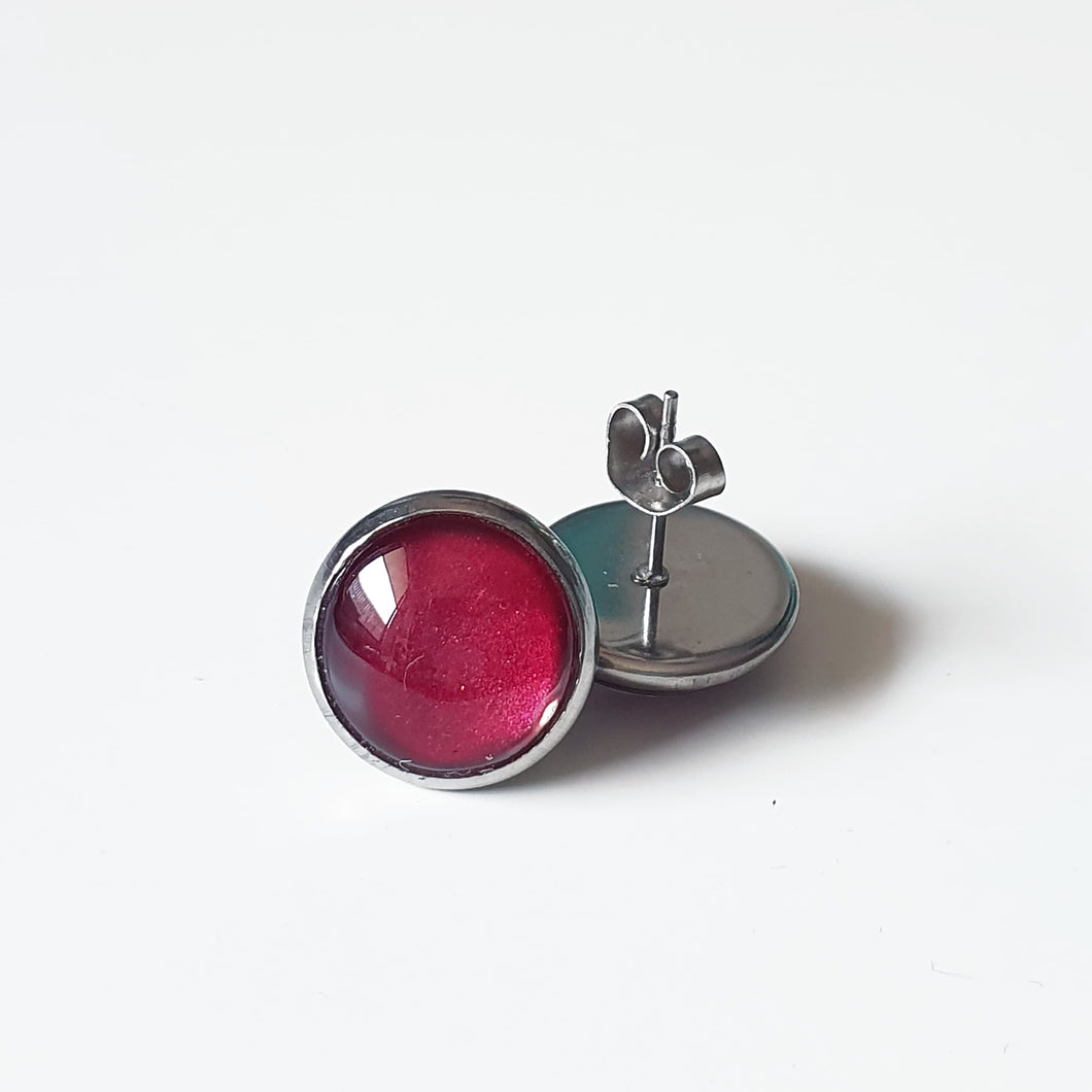 Handpainted Red Wine coloured stud earrings