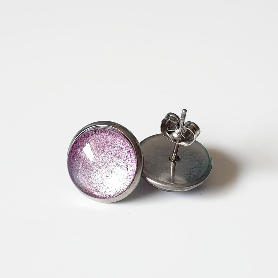 Handpainted Lilac stud earrings