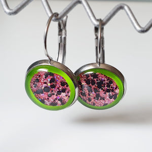 Handpainted sparkly Watermelon drop earrings