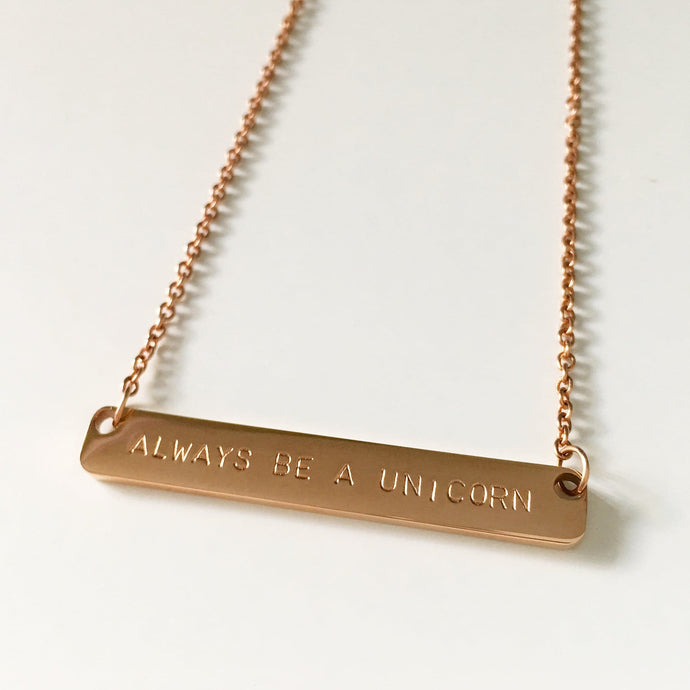 Handstamped Bar Necklace (clearance sale)