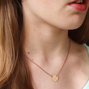 Handstamped Petite Disc Necklace (clearance sale)