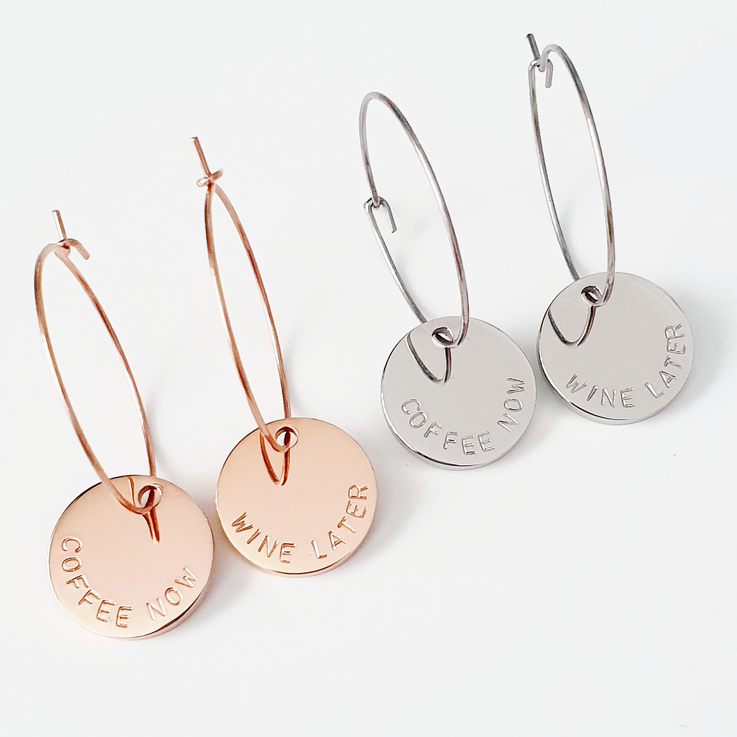 Handstamped Hoop Earrings
