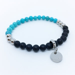 Black agate and turquoise howlite bracelet