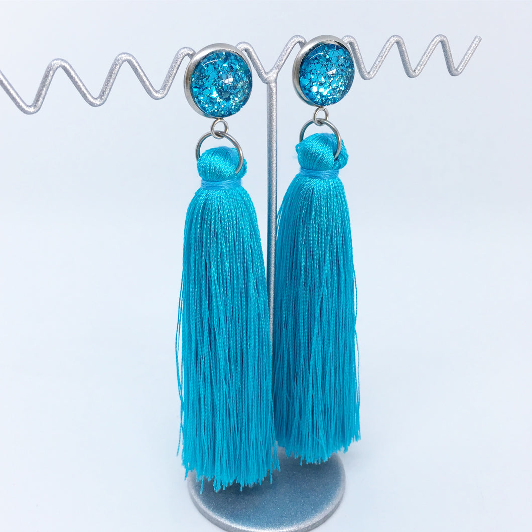 Light Blue tassel earrings | allure style