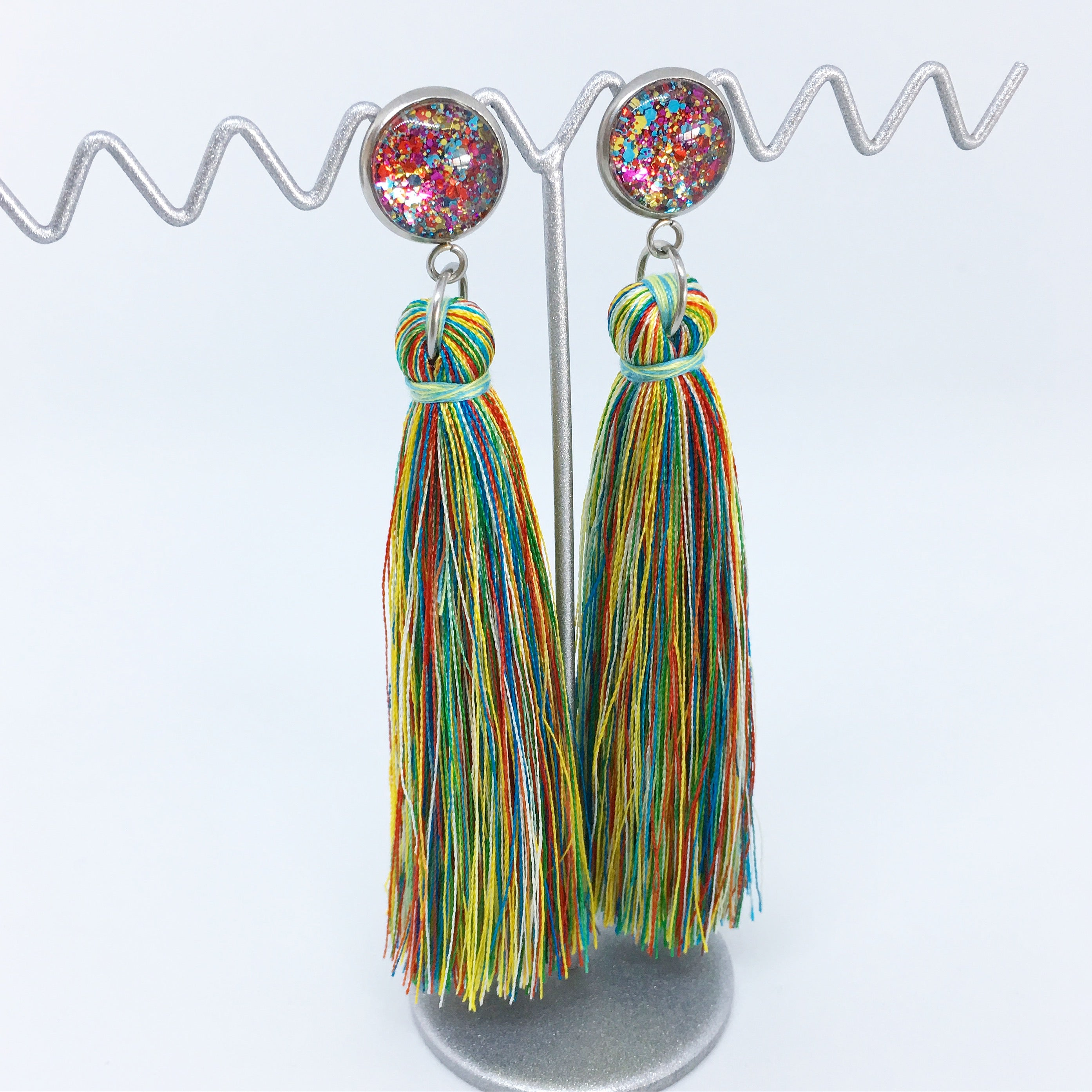 Multicoloured tassel earrings | allure style