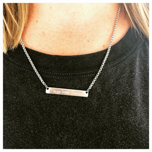 Slow Down Style wearing allure style handstamped bar necklace