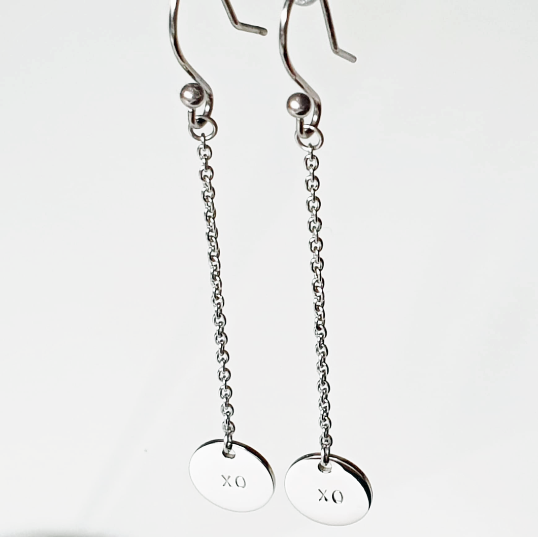 Handstamped Petite Chain Drop Earrings