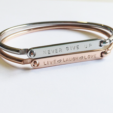 Load image into Gallery viewer, Handstamped ID Bracelet (adult size) | allure style | never give up | live laugh love