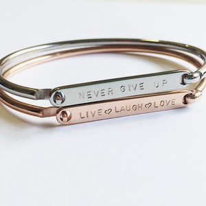 Handstamped ID Bracelet (adult size) | allure style | never give up | live laugh love
