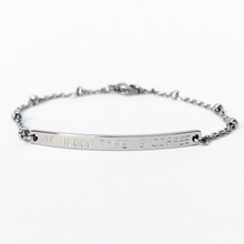 Load image into Gallery viewer, Handstamped Bar Bracelet (adult size) | allure style | my blood type is coffee