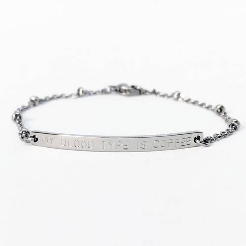 Handstamped Bar Bracelet (adult size) | allure style | my blood type is coffee