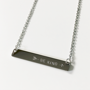 Handstamped Bar Necklace | allure style | be kind necklace