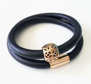 Black double wrap leather bracelet with rose gold plated filigree ball charm
