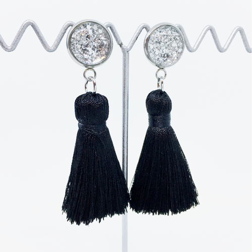 Mini Black tassel earrings | allure style