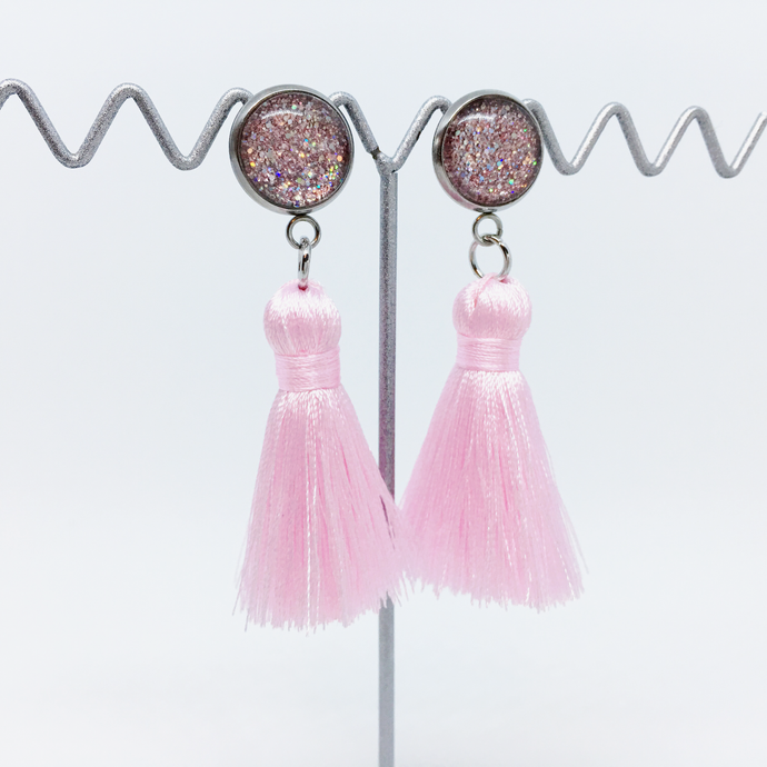 Mini Blush Pink tassel earrings (clearance sale)