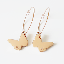 Load image into Gallery viewer, Handstamped Butterfly Earrings