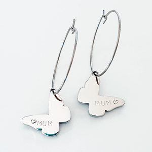 Handstamped Butterfly Earrings