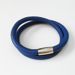 Blue double wrap leather bracelet