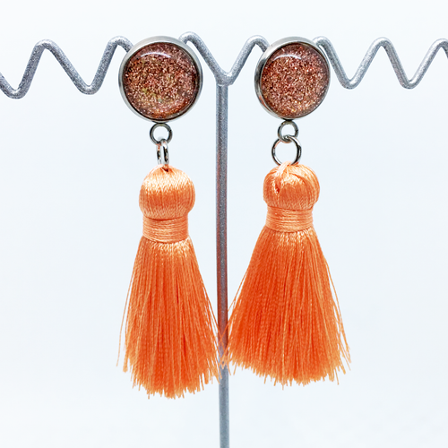 Mini Coral tassel earrings