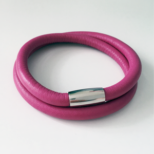 Pink double wrap leather bracelet