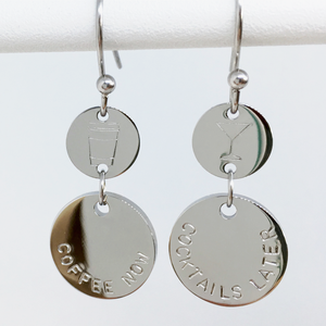 Handstamped Double Drop Earrings - coffee now cocktails later | allure style