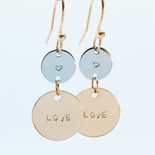 Load image into Gallery viewer, Handstamped Double Drop Earrings - love earrings | allure style