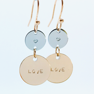 Handstamped Double Drop Earrings - love earrings | allure style