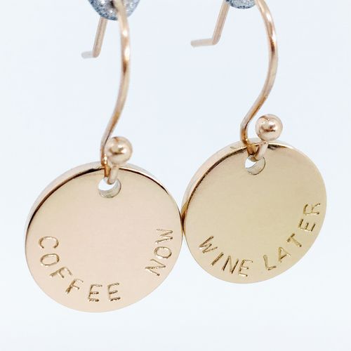 Handstamped Drop Earrings