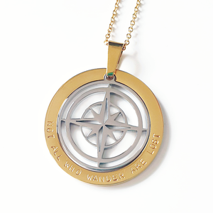 Handstamped Compass Necklace