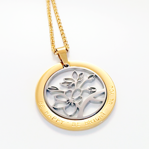 Handstamped Flower Necklace