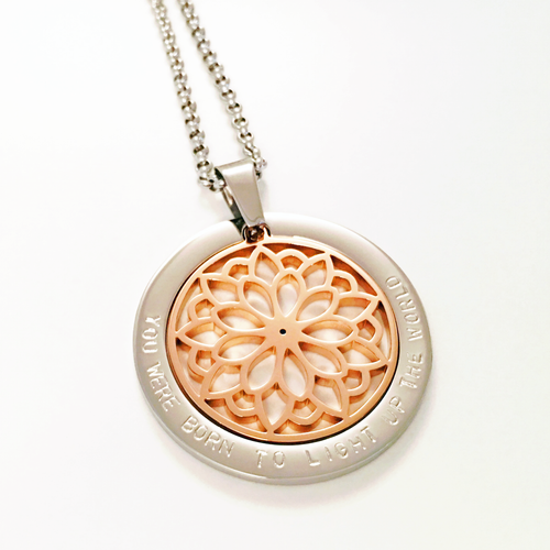 Handstamped Flower Mandala Necklace | allure style