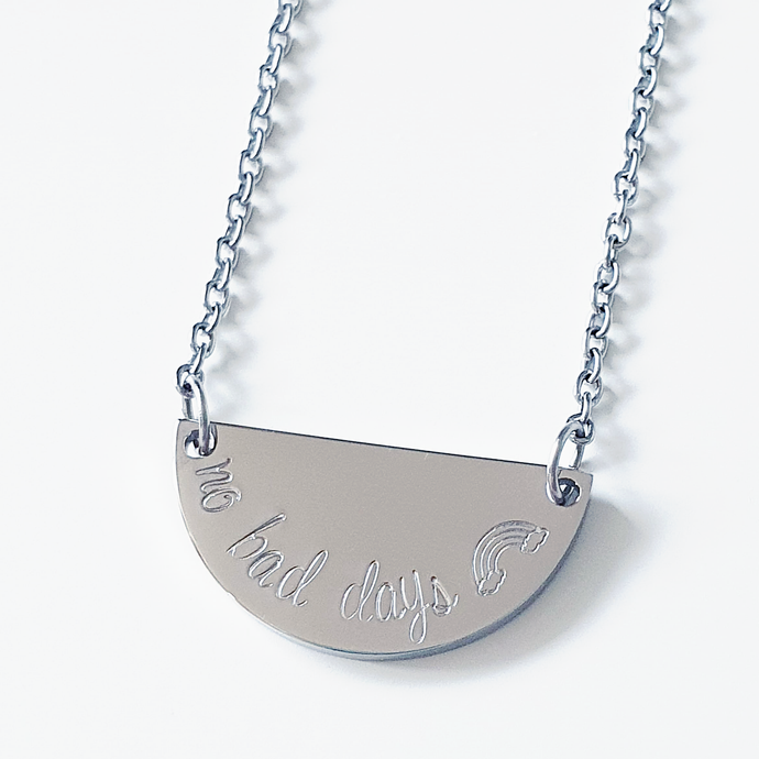 Handstamped Half Circle Necklace (clearance sale)
