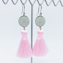 Load image into Gallery viewer, Handstamped Tassel Earrings - xo | allure style