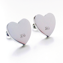 Load image into Gallery viewer, Handstamped Heart Earrings - allure style