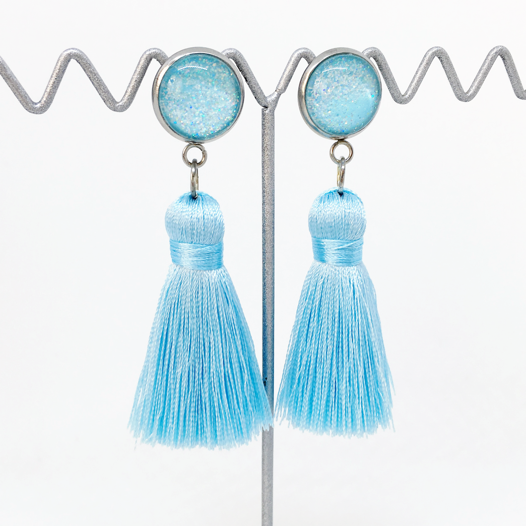 Mini Ice Blue tassel earrings | allure style